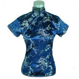 Wholesale Chinese Blouse Fashion - Special Offer Navy Blue Womens Blouse Satin Shirt Top Mujeres Camisa Chinese Traditional Clothing Flower Size S M L XL XXL A0025