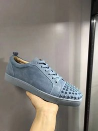 Wholesale Super Junior Bags - Low Cut Sneakers Sky Blue Suede Matte Leather Red Bottom Junior Spikes Flat Men's Shoes Super Quality Sale With Box Receipt white dust bag