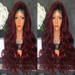 Wholesale long heavy hair - Cheap sexy heavy density long body wave black ombre wine red synthetic lace front wigs with baby hair heat resistant fibre for black women