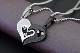 Wholesale Heart Shape Diamond Pendant - Heart shaped titanium love couple necklace Dedicated couple(pair) necklace heart - shaped diamond pendant gift couple pendant Korean jewelry