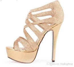 Wholesale Crossover Ties - Glitter Women High Heels Gold Dress Sandals Crossover Strappy gladiator sandals sexy stiletto heel women shoes Summer Sandals size 35 to 39