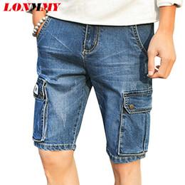 Wholesale Wholesale Men Short Jeans - Wholesale- LONMMY Holes Knee Length shorts Skinny jeans mens Fashion Casual denim shorts mens bermuda masculina 2017 summer Plus size