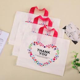 Wholesale Plastic Bag Carrier Handle - Creative 32*25cm White Plastic Shopping Bag with Handle Carrier THANK YOU Heart Flowe Print Boutique Packaging CCA6650 200pcs