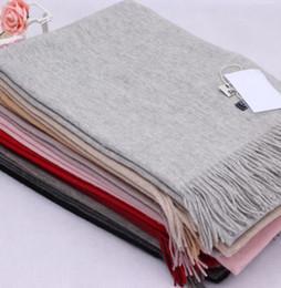 Wholesale Pashmina Tassel - Elegant Acne Pure Color Pashmina Virgin Wool Cashmere tassels Scarf Shawl Unisex