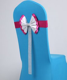 Wholesale Wedding Sashes For Chairs Cheap - Beautiful Colorful Bow Wedding Accessories For Chairs Cheap Wholesale Elegent Beads Textile Chair Cover Sashes Wedding Decorations LLFA
