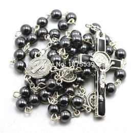 Wholesale Wholesale Catholic Rosary Beads - Wholesale- Fashion hematite bead catholic rosary, St Benedict connectors, center piece, and crucifix cross