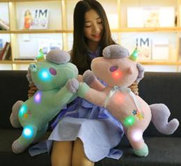 Wholesale night light pillows - Running Unicorn Plush Toy Pink Blue LED Unicorn Stuffed Soft Doll Night Light Up Unicorn Plush Toy Glowing Pillow