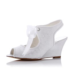Wholesale White Wedges Bow - New Lace 8cm Wedge sandal Wedding Dress Shoes With Rhinestone Elegant with Bow Women Shoes Bridal Shoes For Wedding