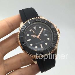 Wholesale Cheap Stainless Gold Watch - Cheap Rose Gold Rubber Oysterflex Bracelet Fashion 40mm Ceramic Bezel Mens Watch 116655 Sports Men Top Brand Luxury Master Quartz Watches