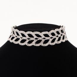 Wholesale Singapore Wedding Gold Jewelry - Accessories wholesale Luxury Cubic Zirconia Bridal Jewelry Shape Crystal Rhinestone Female Party Jewelry Necklace Sets