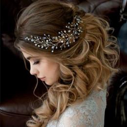 Wholesale Handmade Headbands For Girls - Europen style handmade bridal flower headbands jewelry gloden silver pearl rhinestone wedding hiar accessories for women and girls