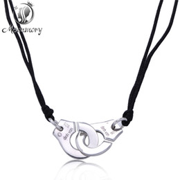 Wholesale Handcuffs Jewelry - Wholesale-Real 925 Sterling Silver Handcuff Menottes Pendant Necklace With Black Rope For Women Compatible With France Jewelry Wholesale
