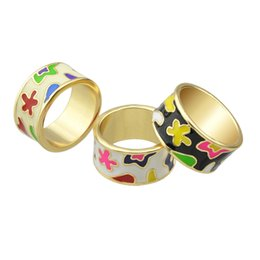 Wholesale White Gold Enamel Rings - New Arrival Elegant Delicated Boho Style Colorful Enamel Geometric Pattern Round Finger Rings For Women Bijoux