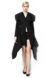 Wholesale Womens Black Cape - 2017 Womens Woolen Trench Wrap Long Cape Lapel Wool Blend Longline Winter Fall Warm Coat Overcoat