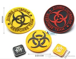Wholesale Zombie Patches - 2 sets free shipping PVC 3D patch with magic tape ZOMBIE HUNTER OUTBREAK RESPONSE TEAM Tactical Patch Rubber Badge GPS-025
