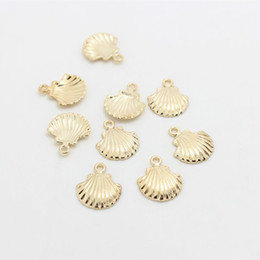 Wholesale Kc Gold Plating - Sweet Bell (60 pieces) 15*20mm KC Gold Metal Alloy Ocean Shell Charms Jewelry Making Charms D0856