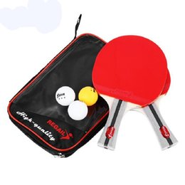 Wholesale Paddle Balls - Wholesale Table Tennis Ping Pong Racket Two Shake-hand Grip Bat Paddle Three Balls Light Tip Heavy Handle Table Tennis Racket Free Shipping