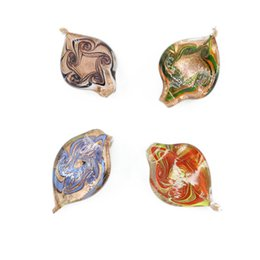 Wholesale Dust Charms - Lampwork Foil Glass Pendants Gold Dust Leaf Handmade Necklace Pendants Charms For Jewelry Findings Diy 12pcs box, MC0029