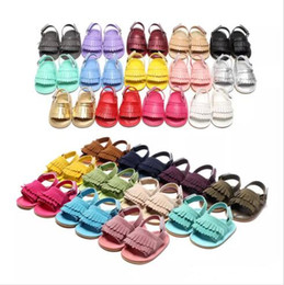 Wholesale Prewalker Leather Baby Shoes - baby PU moccasins sandals soft soles and elastic baby tassel shoes Summer prewalker Infant Babies Shoes 26 Colors
