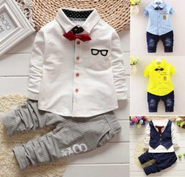 Wholesale two cute boys - CAT27 NEW ARRIVAL BOY CLOTHING SET 100%Cotton Turn Down Collar Long Sleeve boy shirt pant two pieces set causal kids outwear clothing set