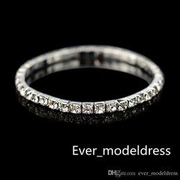 Wholesale Silver Stretch Rings - 2017 Row Rhinestone Stretch Bangle Wedding Bracelets Bridal Jewelry Cheap Bracelet for Bride Party Evening Prom Dress