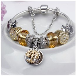 Wholesale Crystal Beads Bracelet Design - New Design 925 Sterling Silver Golden Crystal European Charm Beads Pandora Style Charm bracelets The Tree of Life Dangle DIY Jewelry Women