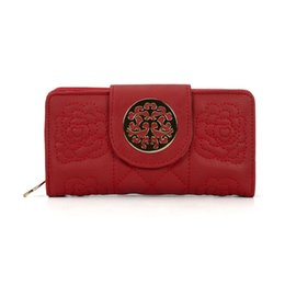 Wholesale Tartan Clutch - Fashion Wallets Woman Credit Card Package Clutch Bag Plaid Embroidered Multi-bit Ladies Long Purse England Style VKP1416