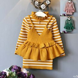 Wholesale Girl Knit Dress Stripe - 2017 New Autumn Winter stripe sweater Dresses Girls Clothing Sets Knitting Patterns Pullover Sweaters Dress+waistcoat vest Dress Suits A1102