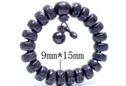 Wholesale Hand Carved Buddhas - flat bead Hand carved real peach wood beads bracelet Buddha bracelets