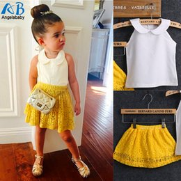 Wholesale Sleeveless Suits Baby Girls 2pcs - Wholesale- 2016 Girls Sets Kid Baby Sleeveless Round Collar Top+Yellow Lace Skirts 2Pcs Suit Girls Outfits Princess girls clothing sets