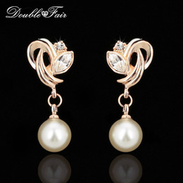 Wholesale Earrings Vintage Flower Drop - Imitation Pearl Beads Drop Dangle Earrings Wholesale Fashion Vintage CZ Diamond Gold Plated Crystal Party Jewelry For Women Gift DFE166