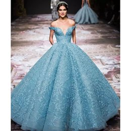 Wholesale Dres Fashion Red - Gorgeous Applique Zuhair-Murad Evening Dress Charming Light Blue Off Shoulder Organza Red Carpet Dress Stunning Special Occasion Formal Dres