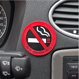Wholesale Car Door Signs - 3Pcs Rubber NO SMOKING Sign Tips Warning Logo Stickers Car Taxi Door Decal Badge Glue Sticker Promotion