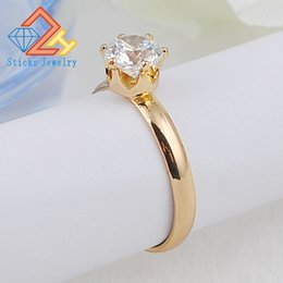 Wholesale Ring Gold Married - New 6.5MM zircon woman married eight stars eight ring 100% environmentally friendly materials gold 1pcs   lot large drop shipping