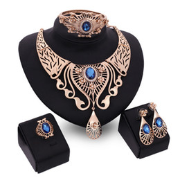 Wholesale earings necklace sets - High Quality Gold Necklace Bracelet Ring Earings Jewelry Sets Gemstone Drop Statement Jewelry for Women Gift Drop Shipping