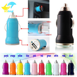 Wholesale Mini Usb Car Charge - For Iphone6 7 plus samsung s7edge s8 plue USB Car Charger Colorful Bullet Mini Car Charge Portable Charger Universal Adapter