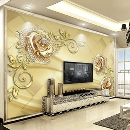 Wholesale Large Paintings For Living Room - Wall Mural 3D European Style Marble Diamond Jewelry Flower High Quality Non-woven Large Painting Living Room Mural Wallpaper