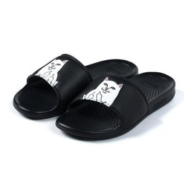 Wholesale Summer Women Heels - Free Shipping RipNDip Lord Nermal Slides Black Pink RipNDip Sandals Mens Womens 2017 Summer RipNDip Slippers Size 36 to 44 Come With Box