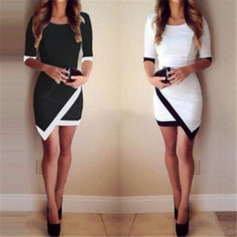 Wholesale Line Tights - Stylish Womens Bandage Bodycon Asymmetric Evening Sexy Party Cocktail Mini Dress Casual Dresses Women's Clothing Bandage Tight Dress Ap
