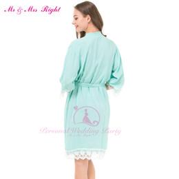 Wholesale Lace Kimono Bathrobe - Wholesale- New Fashion Sexy Lace Robe Cotton Soft Bride Pajamas Wedding Party Robe Girls Bridesmaid Bathrobes Dresses For Women Kimono