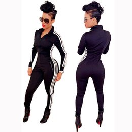 Wholesale Black Female Jumpsuit - Wholesale- Fashion Style Autumn Winter Casual Rompers Jumpsuits Women Black Zipper All-match Long swear Jumpsuit Female DP660875