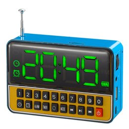 Wholesale large digital lcd clock - Wholesale-Large Digital portable mini USB alarm clock radio recorder LCD FM Tuning radio