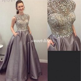 Wholesale Elastic Puffy Sleeves - Puffy Elastic Satin Evening Dresses With Sparkly Crystals Beading A-Line Prom Dress 2017 Spring Sheer Cap Sleeves Special Occasion Gown 2017