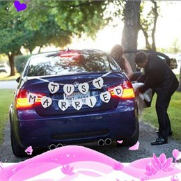 Wholesale Decal Married - Wholesale- Hot sale Just Married Wedding Car Cling Decal Sticker Window Banner Decoration 1pc