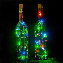 Wholesale Thin Copper Wire - 2017 Hot 2M 20LED Lamp Cork Shaped Bottle Stopper Light Glass Wine LED Copper Wire String Lights For Xmas Party Wedding