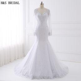 Wholesale Modern H - H&S BRIDAL Long Sleeve Lace Wedding Dress 2017 Beaded Wedding Dresses Turkey V Neck Mermaid Wedding Dresses Vestido De Noiva