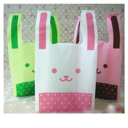 Wholesale Rabbit Supplies Wholesalers - Cute Rabbit Ears Plastic Bags Shopping Carries Bag Smiling Face Lovely Style Party Pouch for Party Supplies Decoration 50pcs lot