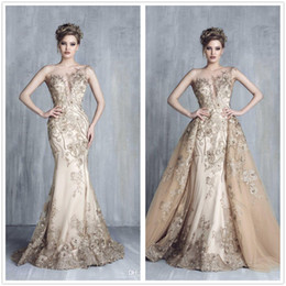 Wholesale Over Size Evening Dresses - 2017 New Middle East Sheer Lace Mermaid Evening Dresses 3D Floral Beaded Over Skirts Floor Length Party Prom Dresses