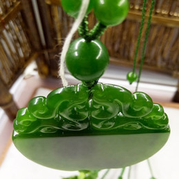 Wholesale Chinese Lock Necklace - Free shipping god bless you Natural Green Hand-carved Chinese Hetian Jade Pendant necklace for man - Lock - Free Necklace Environmental