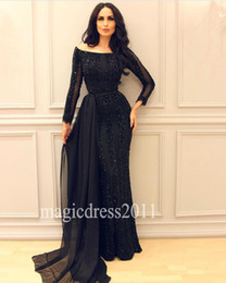 Wholesale Over Shoulder Long Dress - Sexy Black Mermaid Arabic Evening Prom Dresses with Over Skirt 2016 Off-Shoulder Major Beaded Illusion Long Sleeve Celebrity Formal Gowns